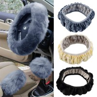 Cimiva 2017 New 3 pcs set Charm Warm Long Wool Plush car Steering Wheel Cover woolen Car Handbrake Accessory