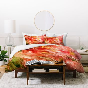 Rosie Brown Abstract Red Yupo Duvet Cover