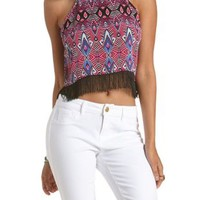 Pink Combo Geometric Print Fringe Crop Top by Charlotte Russe