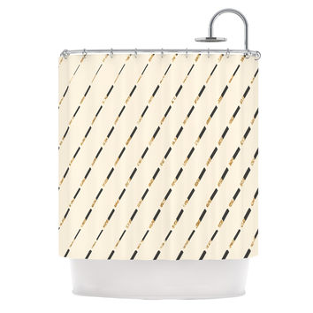 "Nika Martinez ""Glitter Diagonals in Gold"" Tan Shower Curtain"