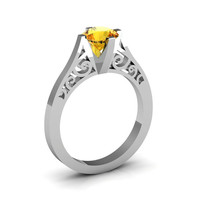 14K White Gold New Fashion Design Solitaire 1.0 CT Citrine Bridal Wedding Ring, Engagement Ring R26A-14KWGCI