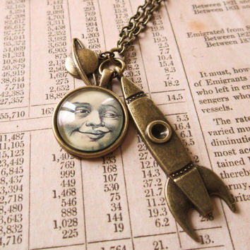 Steampunk Moon Necklace - Man in the Moon, Rocket Sci-fi Cabochon Pendant