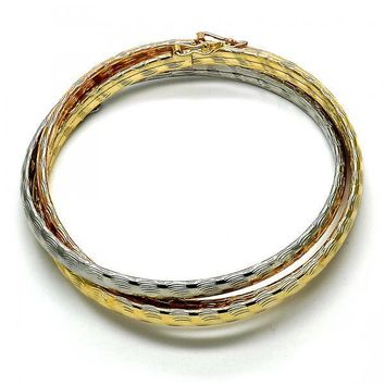 Gold Layered 07.65.0223.05 Trio Bangle, Diamond Cutting Finish, Tri Tone (05 MM Thickness, Size 6 - 2.75 Diameter)