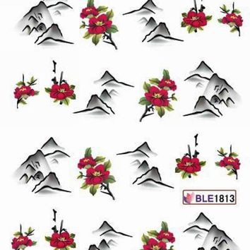 11 PACK/ LOT  WATER DECAL NAIL ART NAIL STICKER CHINESE WATER COLORS PAINTING BLE1808-1818