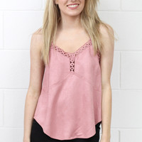 Strappy Faux Suede Camisole {Dusty Rose}
