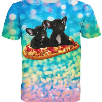 Pug Frenchie French Bull Dogs Flying Pizza All Over Print T-Shirt
