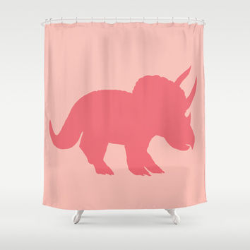 "Triceratops Shower Curtain - Dinosaur, ""Sarah in Pink"" silhouette cretaceous, jurassic colorful decor bathroom, zoo"