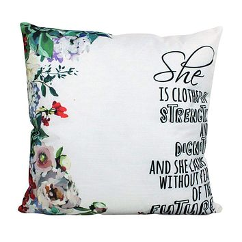 She is clothes in Strength and Dignity  Pillow Cover | Gospel Pillow | 18x18 | Home Decor