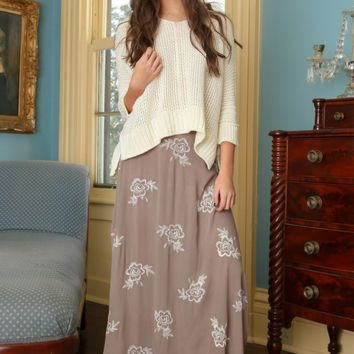 So It Seems Maxi Skirt-Taupe