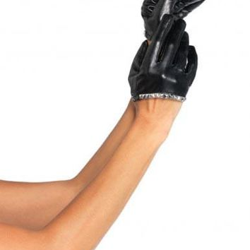 Studded Faux Leather Cropped Glove (One Size,Black)