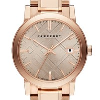 Burberry Check Stamped Round Bracelet Watch, 38mm