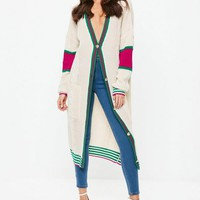 Missguided - White Longline Stripe Cable Knit Cardigan