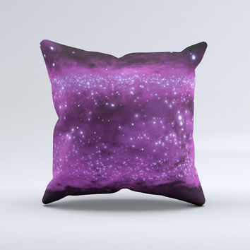 Glowing Hot Pink Orbs of Light  Ink-Fuzed Decorative Throw Pillow