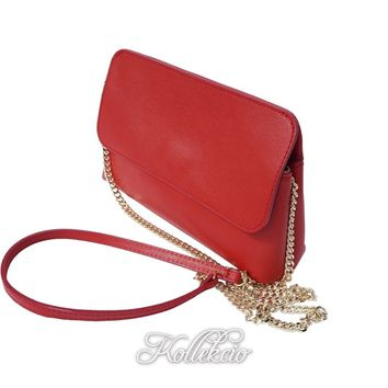 Italian Red Genuine Leather Clutch with Removable Shoulder Strap