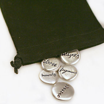 Personalized Pocket Stones- Pewter Message Stones - Affirmations - Pocket Pebbles - Pocket Tokens