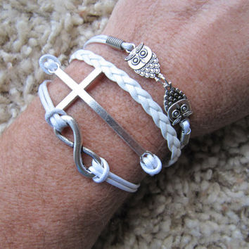 White Silver Owl , Cross and Infinity Friendship Bracelet Cuff - USA Seller