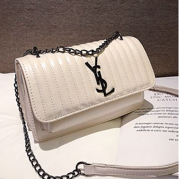 YSL Fashion New Letter Leather Chain Shoulder Bag Women White