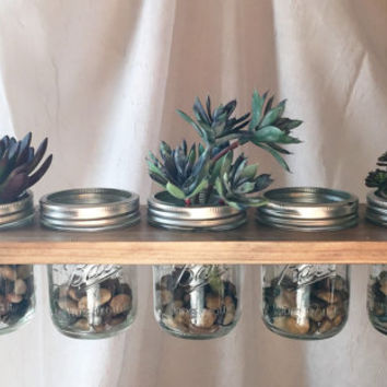 Horizontal Hanging Mason Jar Planter//Storage//Decoration