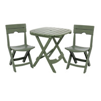 3 Piece Fast Fold Outdoor Furniture Bistro Set In Sage Green