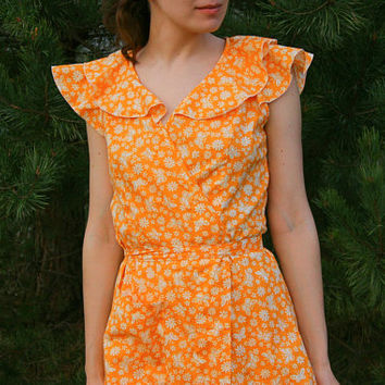 NEW Soviet SunDress  / Butterfly Orange Cotton Frilly Wrap Tea Dress, New With Tags Ukrainian USSR Summer Dress ----> Size: S - XS - Teenage