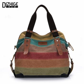 Canvas Bag Tote Striped Women Handbags Patchwork Women Shoulder Bag New Fashion Sac a Main Femme De Marque Casual Bolsos Mujer
