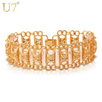 U7 Unique Design Hollow Bracelet For Men/Women Gold Color Vintage Big Link Chain Bracelet Fashion Jewelry H569