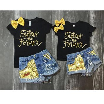 Toddler Girl Outfit Sets T-shirt Tops + Denim Short