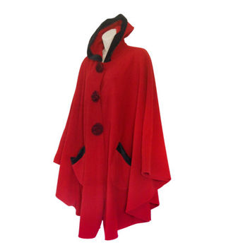 New Winter Poncho Coat Long Poncho Hooded Poncho Red Poncho Fleece Poncho Cape Coat Winter Cape Ladies Cape Hooded Cape Plus Size Poncho