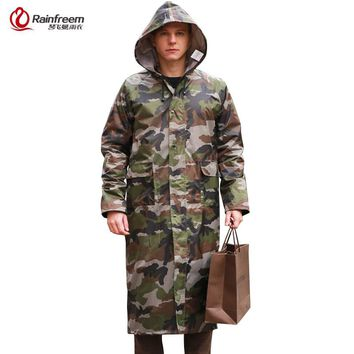 Rainfreem Camouflage Men Raincoat Impermeable Rain Jacket Poncho Extra Large S-6XL Highing Rainwear Army Green Rain Gear