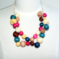 Hand Crafted Multicolored Wooden Bead Necklace