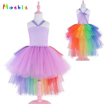 Lavender and Blue Unicorn Party Girls Tutu Dress Princess Dresses for Dance Fashion Irregular Girl Dress for Wedding Vestidos