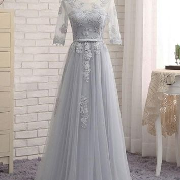 Grey Patchwork Lace Grenadine Lace-Up Pleated Elegant Maxi Dress