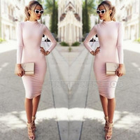 Women Bandage Bodycon Long Sleeve Sexy Party Cocktail Pencil Midi Mini Dress