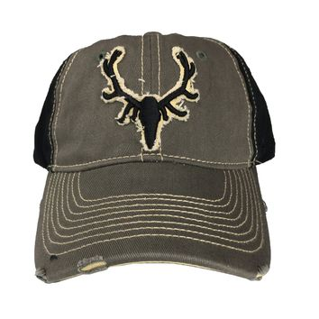 Black Antler Mens Cap Skull Pop Elk  Quality Cotton Blend