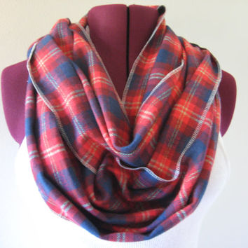 Red & Navy Plaid Flannel Infinity Scarf - Classic Scottish Plaid - Extra Long