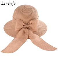 Lanshifei Summer Straw Hats For Women Girls Traveling Sun Hat Big Wide Brim Panama Hat Female Lovely Bowknot Beach Hat