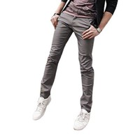 Men Slant Pocket Sides Slim Fitted Straight Trousers Khaki Pants
