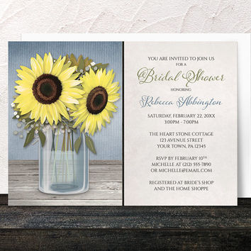 e785635a8961 Sunflower Bridal Shower Invitations - Rustic Yellow Floral Mason