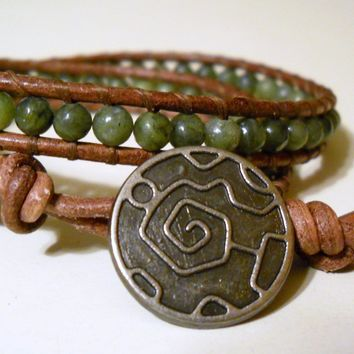Double Wrap Leather Bracelet  Chan Luu Inspired  by PZWDesign