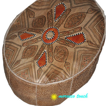 Moroccan Pouf Leather Pouf Brown Leather Pillow Ottoman Poof Pouffe Pouffes hassock Footstool Ottomans Foot stool Chair