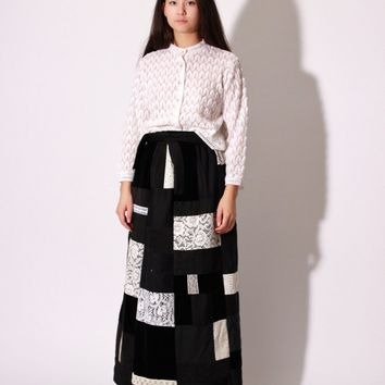70s Patchwork Maxi Skirt / XS