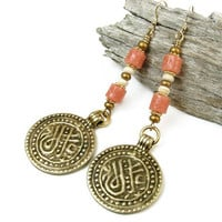 Long Boho Earrings, Tribal Disk Earrings, African Sand Glass Brass Dangles, Handmade Bohemian Jewelry, Hippie Gypsy Style, OOAK, Lightweight