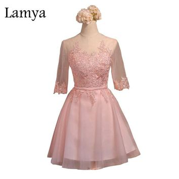 Lamya Short Lace Vestido De Festa Sexy Knee Length Sweet Pink Tulle Ball Gown Party Dress abendkleider