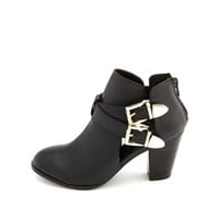 CUTOUT DOUBLE BUCKLE ANKLE BOOTIE