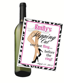 Bachelorette Party Wine Bottle Labels Last Fling Before the Ring Customized Personalized Set of 4