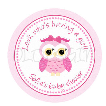 Girl Owl baby shower sticker . 2 Inch Circles. Stickers, Cupcake Topper, Tags, great for birthday partys. Digital file