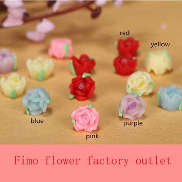 30pc/lot 8mm Mixed Lovely Polymer Clay Fimo Small Mini Rose Flower Bead 3D Nail Art Phone Case Craft Decoration Earring Material