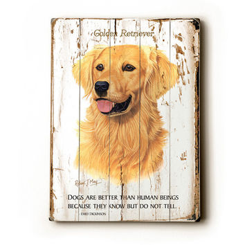 Golden Retriever by Artist Robert May Wood Sign