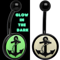 Glow in the Dark Titanium Anchor Belly Ring | Body Candy Body Jewelry