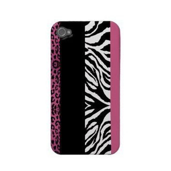 Light Pink Leopard and Zebra Custom Animal Print Iphone 4 Case-mate Case from Zazzle.com